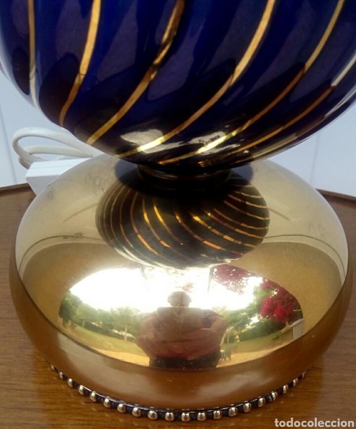 Antigüedades: Lampara - Quinque de bronce dorado y porcelana. Tulipa de crista decorado. - Foto 5 - 180393273