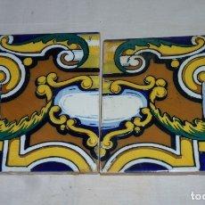 Antigüedades: PAREJA DE AZULEJOS MODERNISTAS DECORADOS.. Lote 180414315