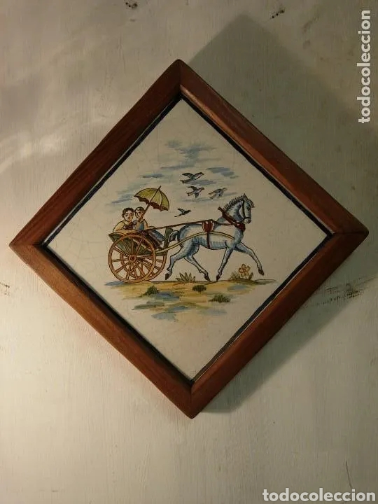 Antigüedades: 2 AZULEJOS SIGLO XIX BUEN ESTADO - Foto 2 - 180423402