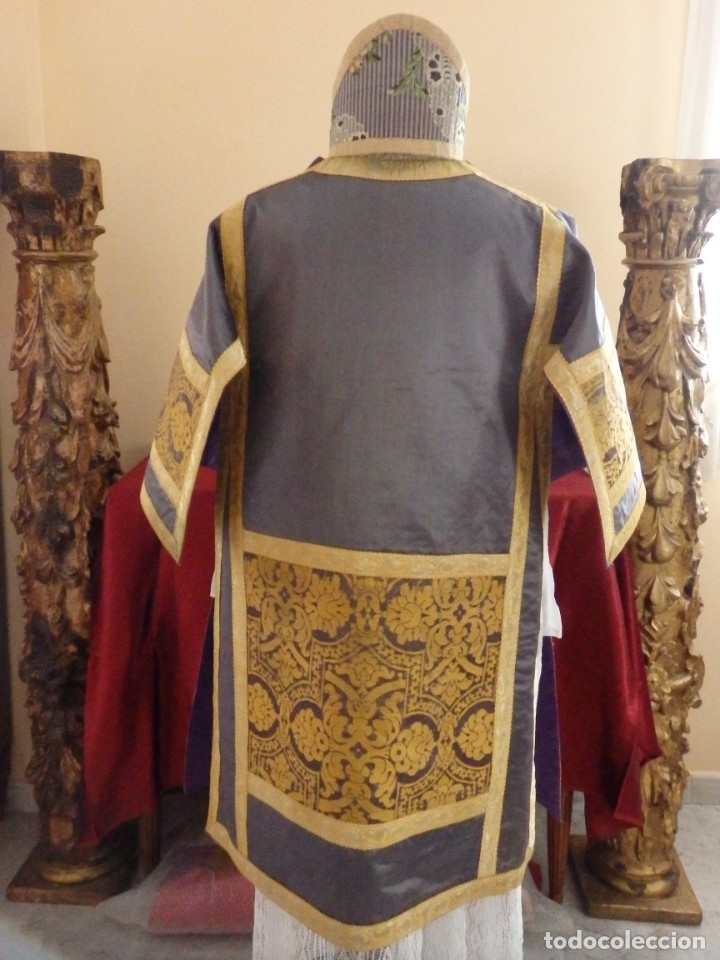 Antigüedades: Pareja de dalmáticas confeccionadas en seda brocada con motivos barrocos. Siglo XIX. - Foto 18 - 180425062