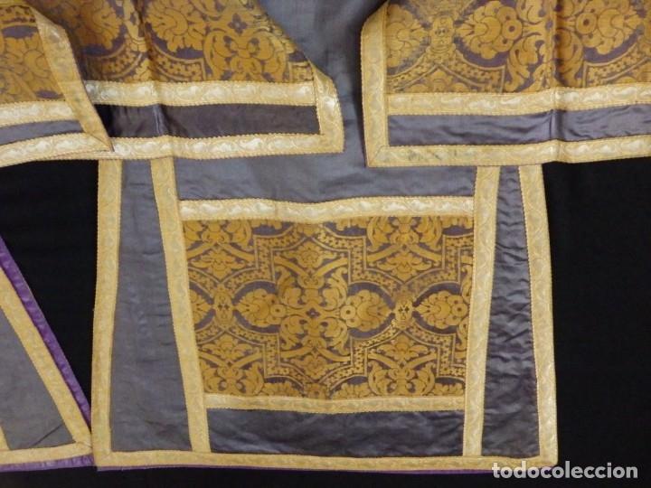 Antigüedades: Pareja de dalmáticas confeccionadas en seda brocada con motivos barrocos. Siglo XIX. - Foto 24 - 180425062