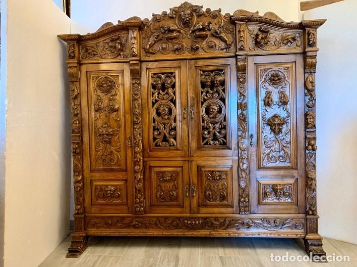 Antigüedades: DESPACHO TALLADO RENACIMIENTO ESPAÑOL NOGAL - Foto 2 - 180433008
