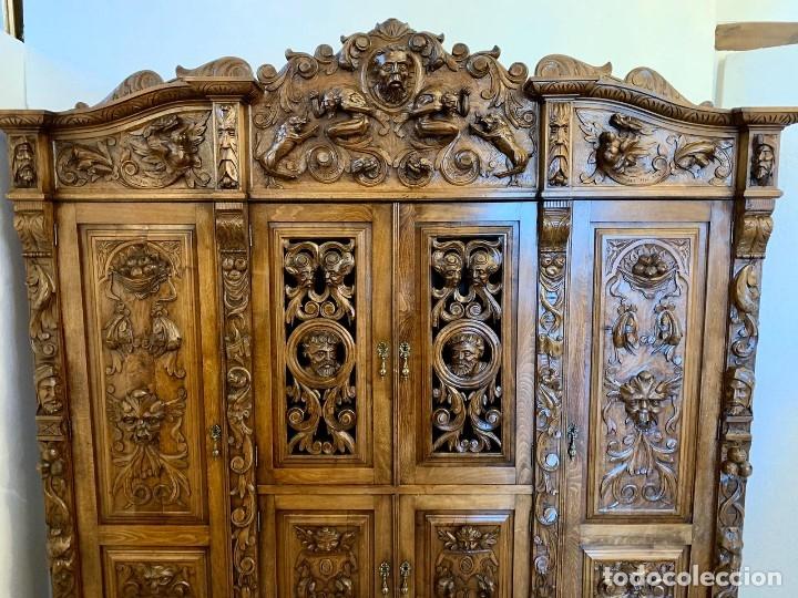Antigüedades: DESPACHO TALLADO RENACIMIENTO ESPAÑOL NOGAL - Foto 14 - 180433008