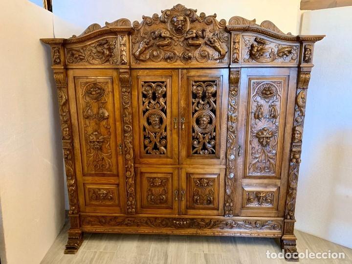 Antigüedades: DESPACHO TALLADO RENACIMIENTO ESPAÑOL NOGAL - Foto 16 - 180433008
