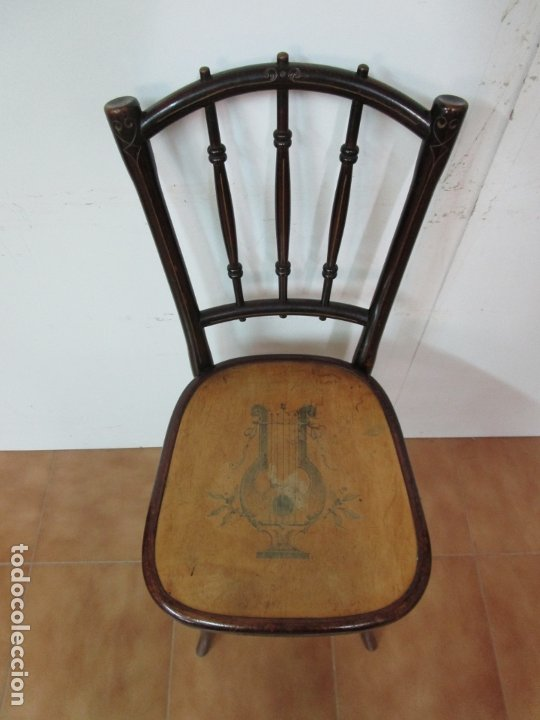 Antigüedades: Preciosa Silla de Piano - Firma Thonet, Original - Madera de Haya - con Serigrafía - Finales S. XIX - Foto 3 - 180434345