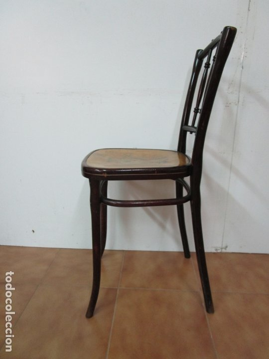Antigüedades: Preciosa Silla de Piano - Firma Thonet, Original - Madera de Haya - con Serigrafía - Finales S. XIX - Foto 13 - 180434345