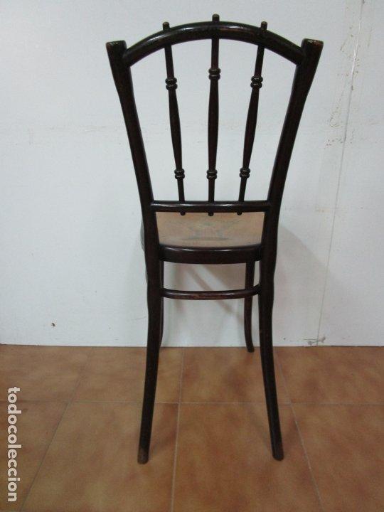Antigüedades: Preciosa Silla de Piano - Firma Thonet, Original - Madera de Haya - con Serigrafía - Finales S. XIX - Foto 14 - 180434345