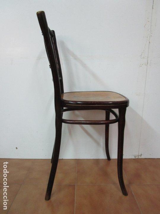 Antigüedades: Preciosa Silla de Piano - Firma Thonet, Original - Madera de Haya - con Serigrafía - Finales S. XIX - Foto 16 - 180434345