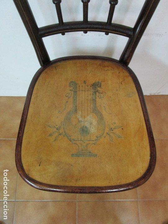 Antigüedades: Preciosa Silla de Piano - Firma Thonet, Original - Madera de Haya - con Serigrafía - Finales S. XIX - Foto 17 - 180434345