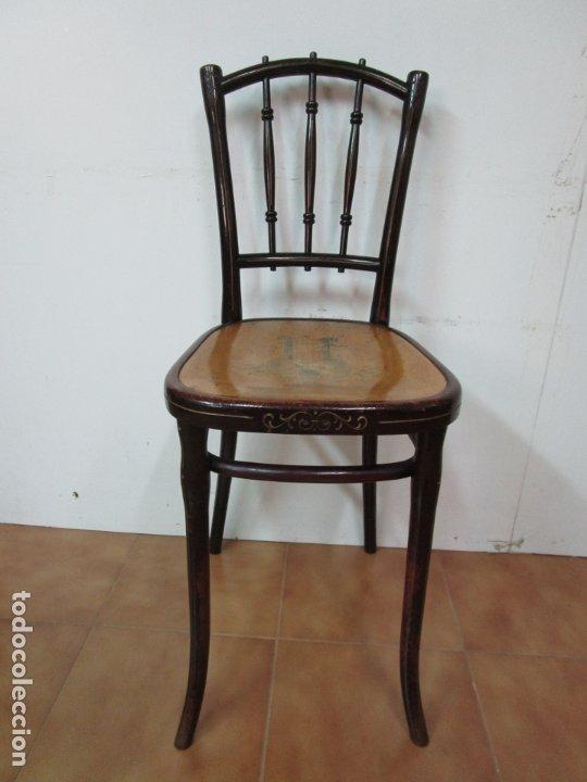 Antigüedades: Preciosa Silla de Piano - Firma Thonet, Original - Madera de Haya - con Serigrafía - Finales S. XIX - Foto 20 - 180434345
