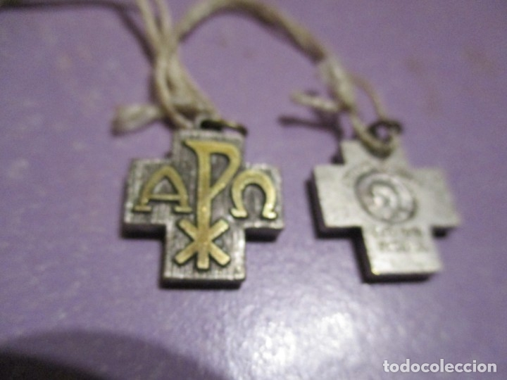 Antigüedades: dos medallas cruz con anagrama - Foto 3 - 180437172