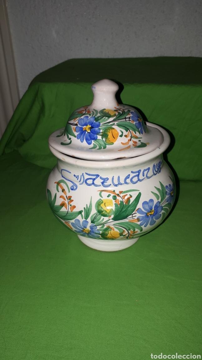 ANTIGUO AZUCARERO CERAMICA FIRMADO LARIO (Antigüedades - Porcelanas y Cerámicas - Lario)