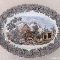 Antigüedades: BANDEJA OVALADA DE CERÁMICA, VARIOS COLORES, LA CARTUJA PICKMAN. Lote 180459913