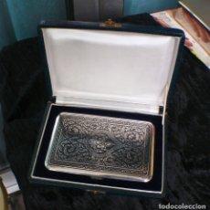 Antigüedades: ANTIGUA PITILLERA DE PLATA MACIZA .NIELO.SIAM TAILANDIA. PRINCIPIOS DEL SIGLO 20. 164GR. Lote 180462821