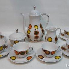 Antigüedades: JUEGO DE CAFÉ PORCELANA ALGIROS VALENCIA. VINTAGE 1960-70. Lote 180477857