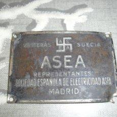 Antigüedades: PLACA DE VASTERAS SUECIA ASEA SOCIEDAD ESPAÑOLA ELECTRICIDAD CON ESVÁSTICA. Lote 180502956