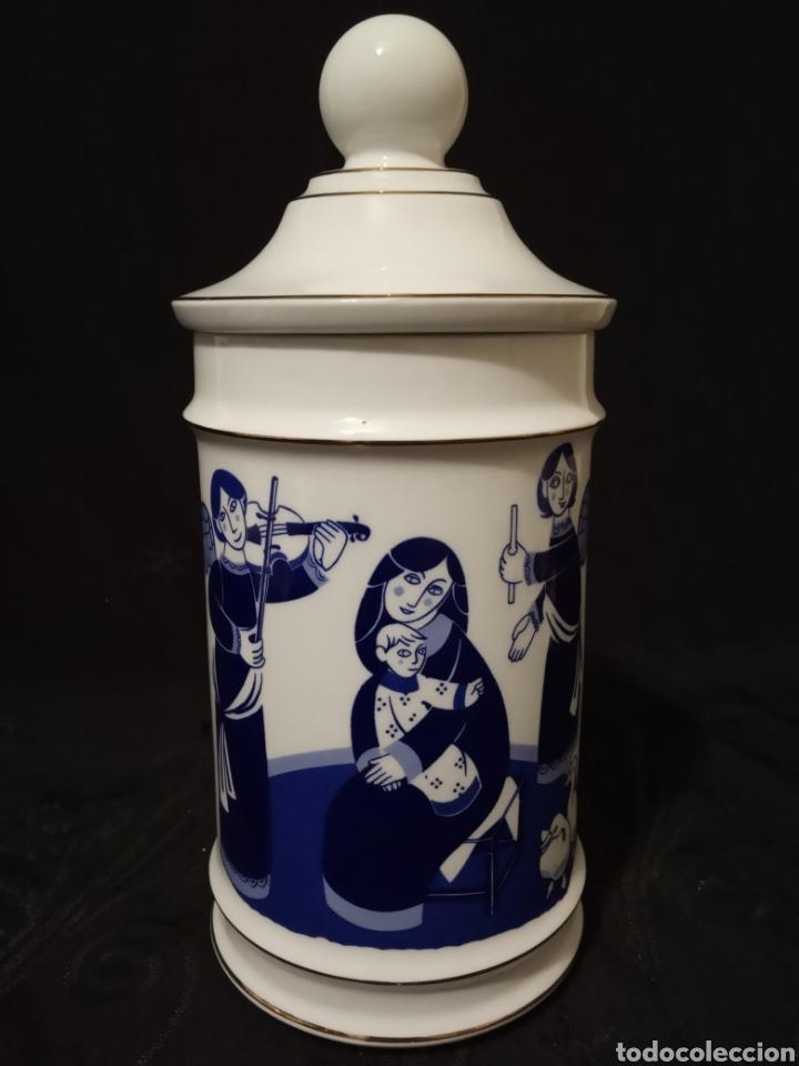 BOTE COCINA, TARRO CON TAPA. ALBARELO EN PORCELANA SANTA CLARA. (Antigüedades - Porcelanas y Cerámicas - Santa Clara)