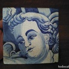 Antigüedades: AZULEJO POMBALINO HECHO Y PINTADO A MANO. ÁNGEL O QUERUBÍN.. Lote 180512176