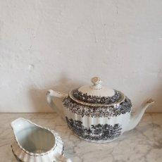 Antigüedades: CAFETERA Y LECHERA PORCELANA. Lote 180518058