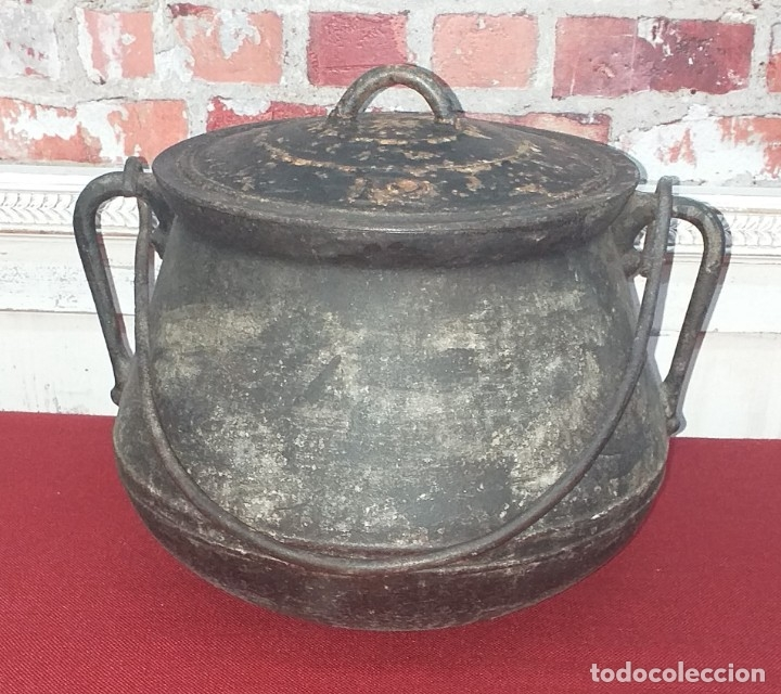 GRAN OLLA DE HIERRO Nº 12 SIGLO XIX (Antigüedades - Técnicas - Rústicas - Utensilios del Hogar)