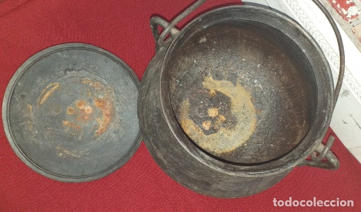 Antigüedades: GRAN OLLA DE HIERRO Nº 12 SIGLO XIX - Foto 7 - 180839318