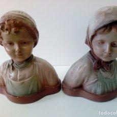 Antigüedades: PAREJA DE NIÑOS TERRACOTA FIRMADAS . Lote 180847661