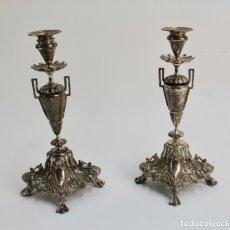 Antigüedades: PAREJA DE CANDELABROS DE PLATA ISABELINOS. S.XIX. . Lote 180854567