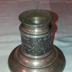 Antigüedades: CANDELABRO PALMATORIA SIGLO XVIII ASIATICO CHINO REPUJADO DRAGON PLATA DE LEY O SIMILAR BUEN ESTADO. Lote 180866546