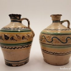 Antigüedades: 2 ALCUZAS CERÁMICAS DE PUENTE DEL ARZOBISPO, (TALAVERA), SIGLO XIX. Lote 180888901