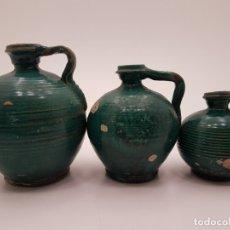 Antigüedades: 3 ANTIGUAS CERÁMICAS PERULAS ANDALUZAS DEL SIGLO XIX, ACEITE. Lote 180889381