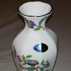 Antigüedades: JARRÓN PORCELANA AYNSLEY PEMBROKE. FINE BONE CHINA. MADE IN ENGLAND. Lote 180894666