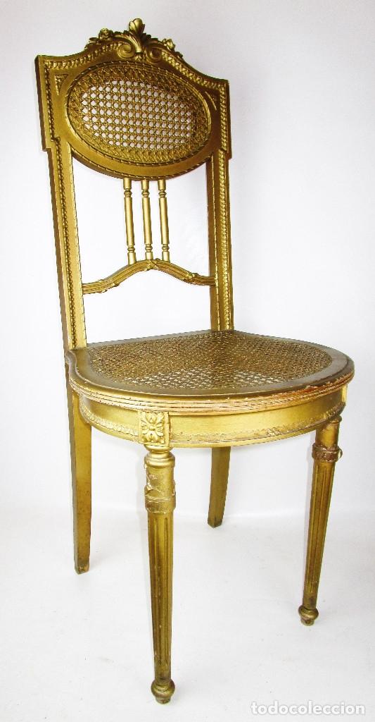 SILLA ANTIGUA LUIS XV DORADA FRANCIA 1870 (Antigüedades - Muebles Antiguos - Sillas Antiguas)