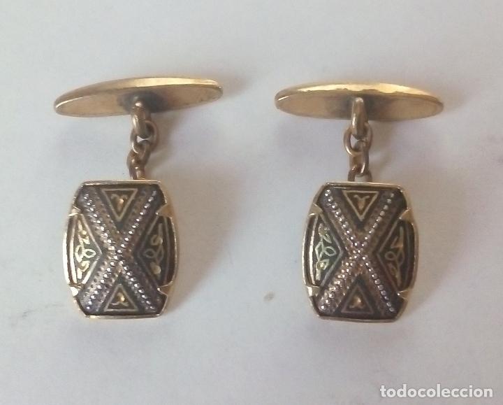 GEMELOS VINTAGE DORADOS (Antigüedades - Moda - Gemelos Antiguos)