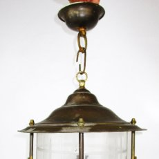 Antigüedades: GRAN LAMPARA FAROL CRISTAL Y BRONCE RENACIMIENTO ESPAÑO AÑOS 30. Lote 180909878