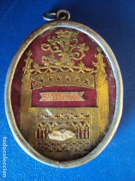 (ANT-191090)RELICARIO DE PLATA - OVALADO - DOBLE CRISTAL - SANT MARSAL - SIGLO XIX (Antigüedades - Religiosas - Relicarios y Custodias)