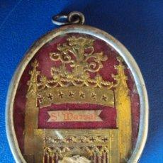 Antigüedades: (ANT-191090)RELICARIO DE PLATA - OVALADO - DOBLE CRISTAL - SANT MARSAL - SIGLO XIX. Lote 180919677