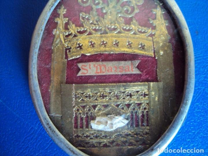 Antigüedades: (ANT-191090)RELICARIO DE PLATA - OVALADO - DOBLE CRISTAL - SANT MARSAL - SIGLO XIX - Foto 2 - 180919677