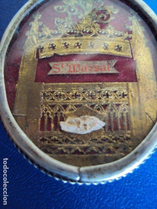 Antigüedades: (ANT-191090)RELICARIO DE PLATA - OVALADO - DOBLE CRISTAL - SANT MARSAL - SIGLO XIX - Foto 3 - 180919677