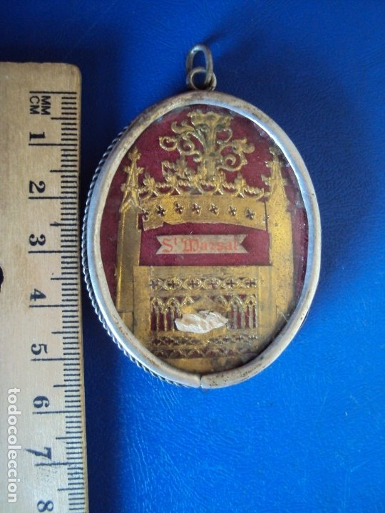 Antigüedades: (ANT-191090)RELICARIO DE PLATA - OVALADO - DOBLE CRISTAL - SANT MARSAL - SIGLO XIX - Foto 4 - 180919677