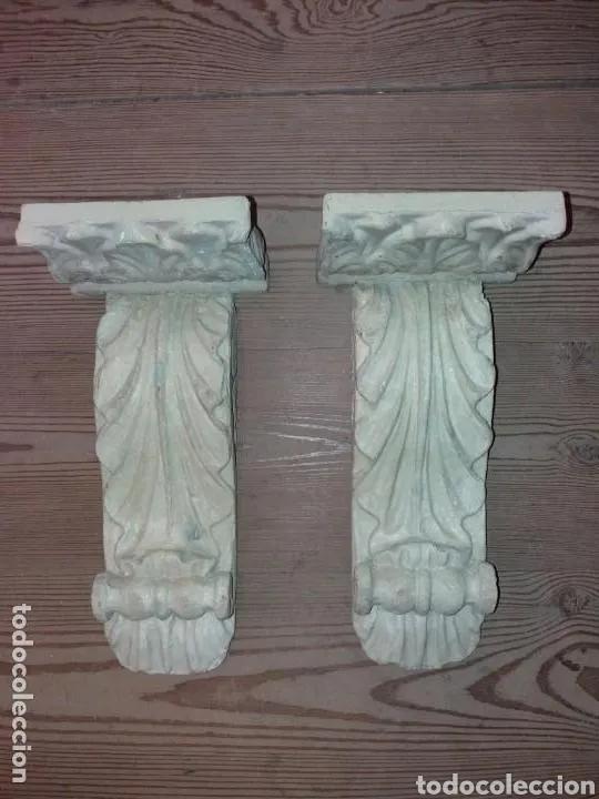 2 MENSULAS SIGLO XVII MADERA POLICROMADAS BUEN ESTADO (Antigüedades - Muebles Antiguos - Cornucopias Antiguas)