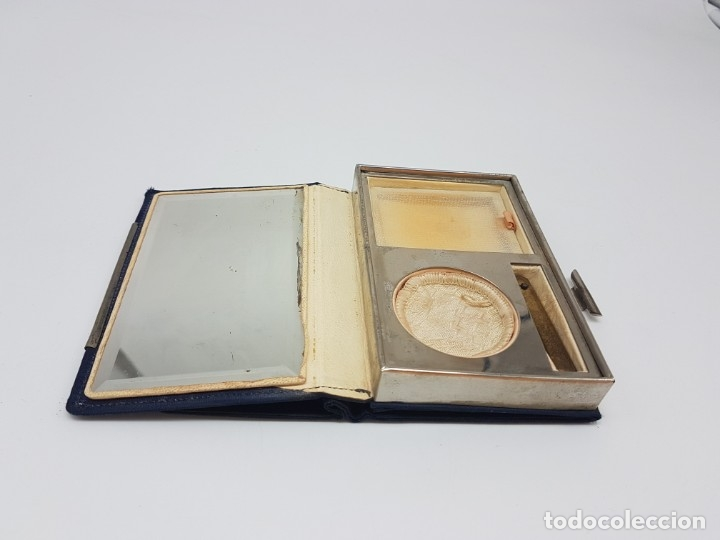 Antigüedades: PORTA MAQUILLAJE MONEDERO DE DAMA CON ESPEJO ( EN TELA ) AÑOS 30/40 - Foto 5 - 180936281