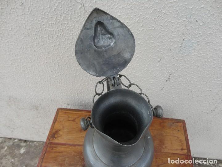 Antigüedades: Jarra de estaño con tapa de carnero sXIX - Foto 4 - 180952465