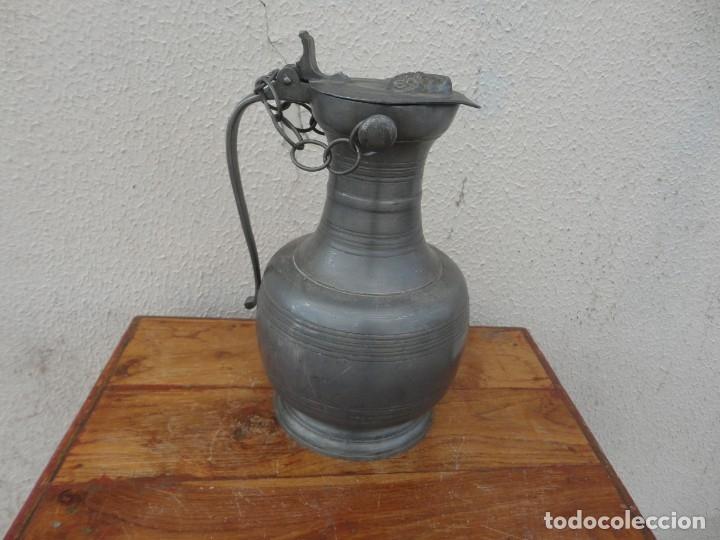 Antigüedades: Jarra de estaño con tapa de carnero sXIX - Foto 5 - 180952465