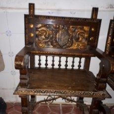 Antigüedades: ANTIGUOS SILLONES DE MADERA DE NOGALES TALLADOS. Lote 180968021