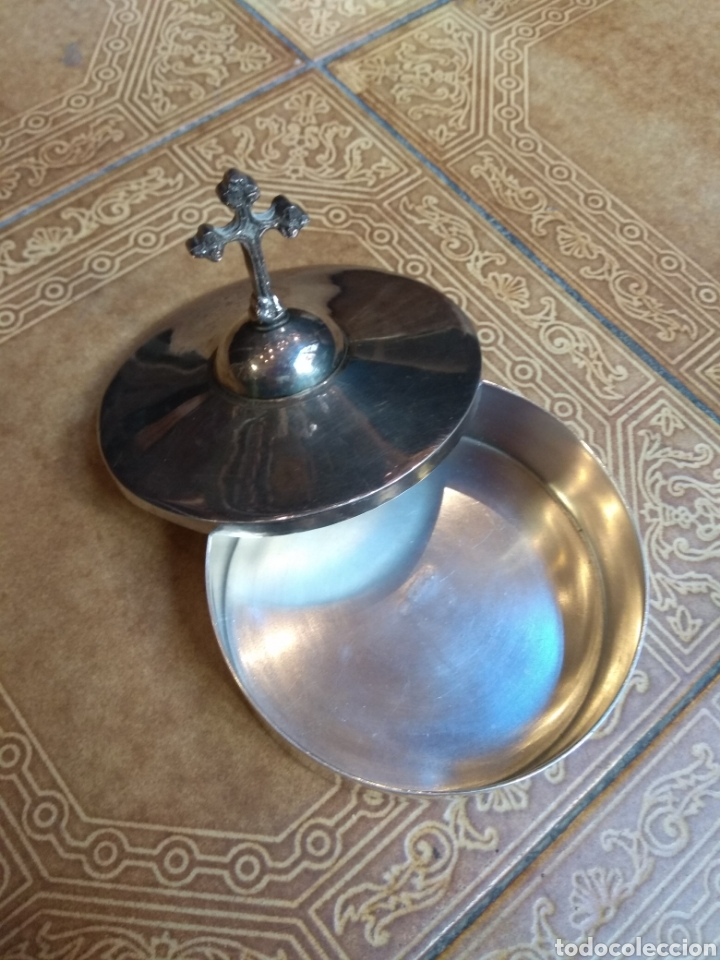Antigüedades: Hostiario - Portaviatico Metal Plateado Meneses - Foto 5 - 180972808