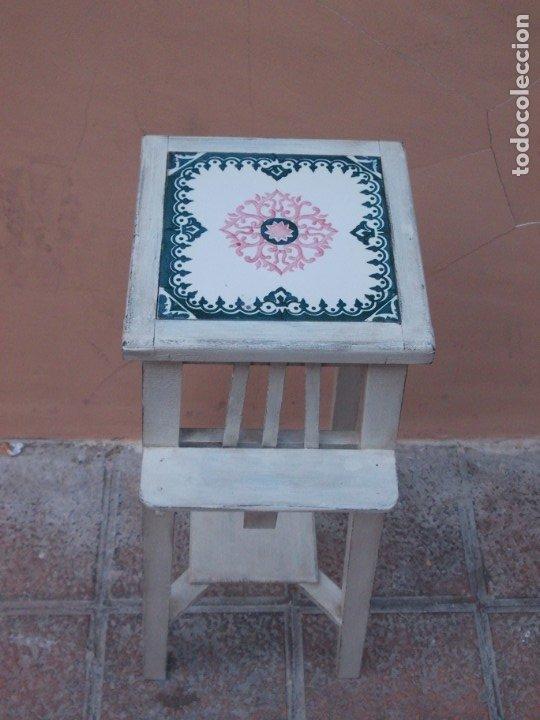 Antigüedades: ANTIGUO MACETERO ART DECO DE MADERA Y CERAMICA-MESITA-PEANA COLUMNA-SOPORTE - Foto 4 - 180998080