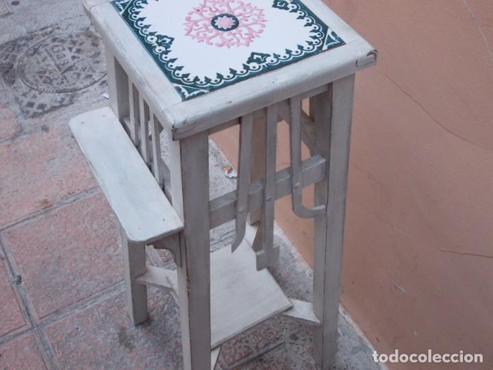 Antigüedades: ANTIGUO MACETERO ART DECO DE MADERA Y CERAMICA-MESITA-PEANA COLUMNA-SOPORTE - Foto 5 - 180998080