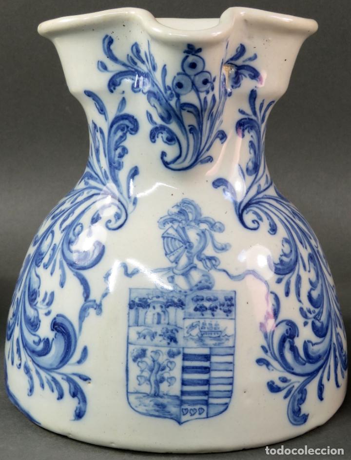 Antigüedades: Jarra con dos cuencos y un tazón en cerámica blanca y azul Talavera Ruiz de Luna ppos s xx - Foto 3 - 181008417