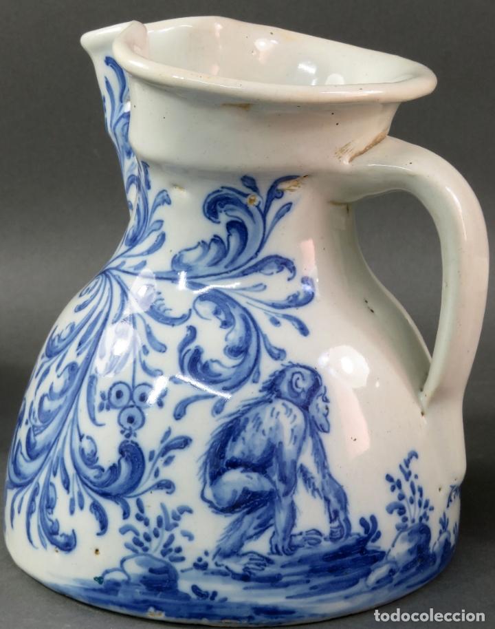 Antigüedades: Jarra con dos cuencos y un tazón en cerámica blanca y azul Talavera Ruiz de Luna ppos s xx - Foto 4 - 181008417