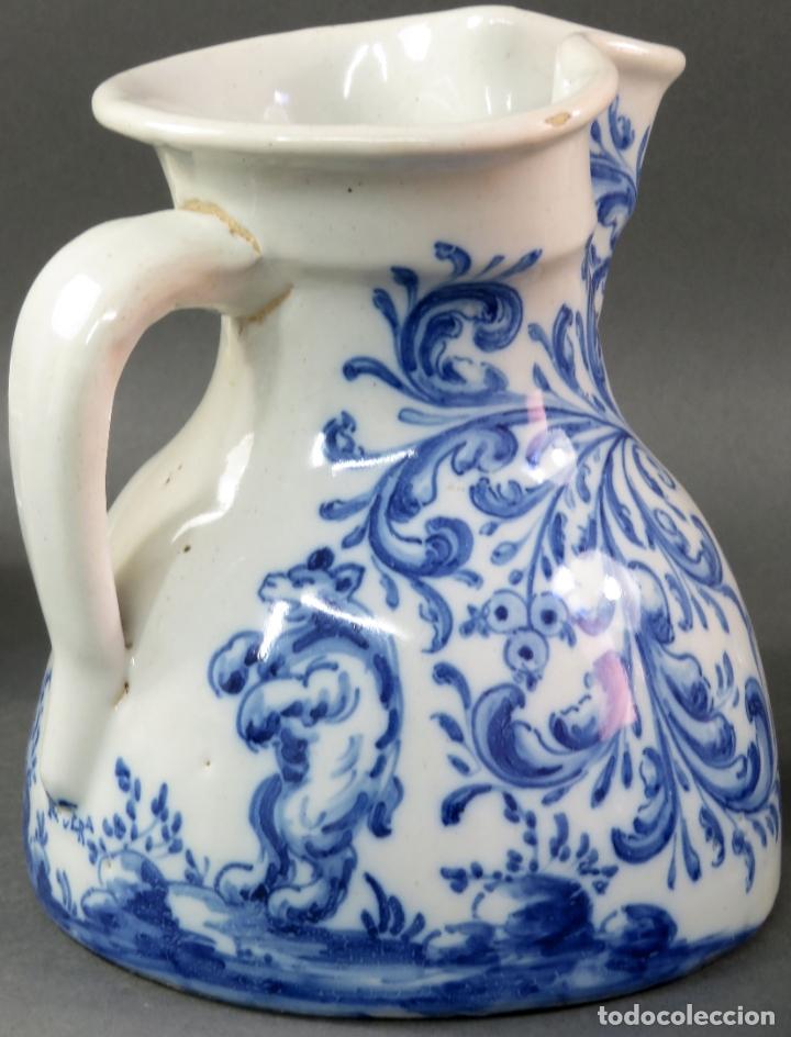 Antigüedades: Jarra con dos cuencos y un tazón en cerámica blanca y azul Talavera Ruiz de Luna ppos s xx - Foto 5 - 181008417